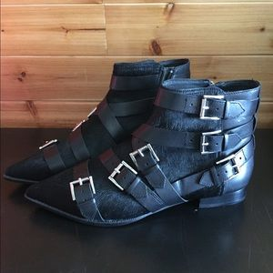400bea0330c7 Ash blast cow fur and leather buckle ankle boots